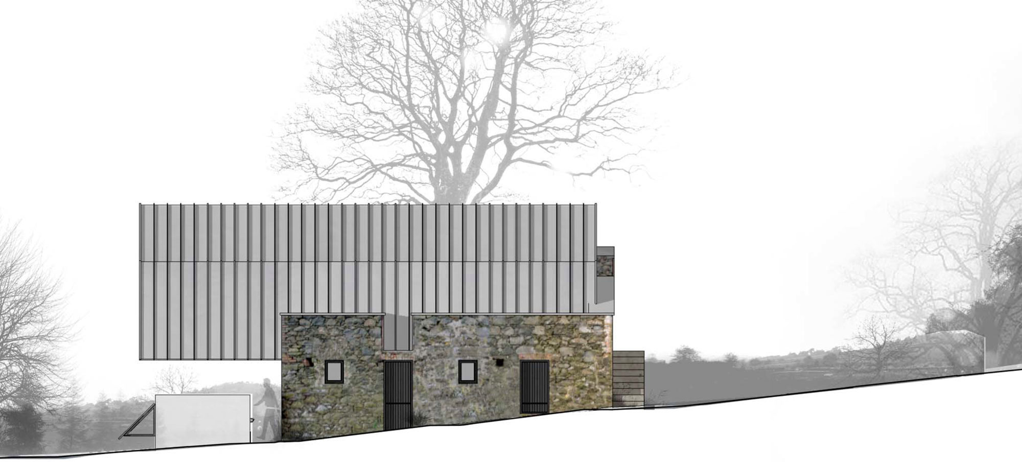 Elevation barn conversion in broughshane northern ireland for Moon architecture