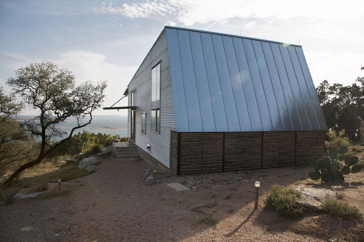 Entrance, Simple Eco-Friendly Home Perched Above Lake Buchanan, Texas