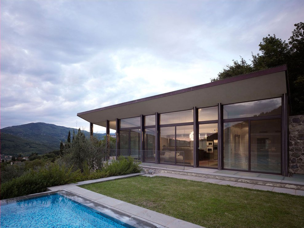Evening Lighting, Modern Home in Prato, Italy