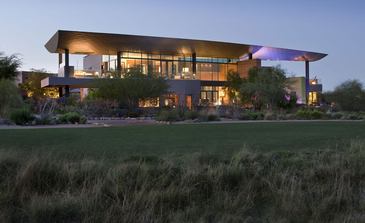 Evening, Lighting, Massive Modern Home in Las Vegas