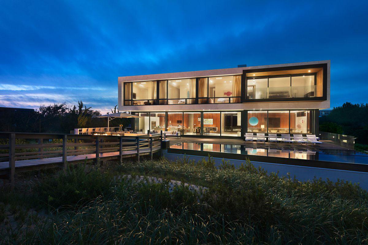 Evening Lighting, Oceanfront Home in Sagaponack, New York