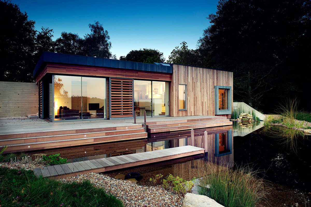 Evening Lighting, Pond, Terrace, Contemporary Home in the New Forest National Park, England