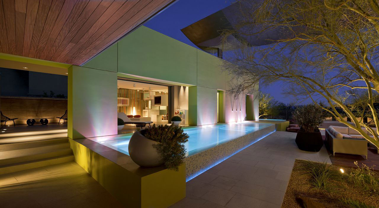Evening, Pool Lighting, Massive Modern Home in Las Vegas