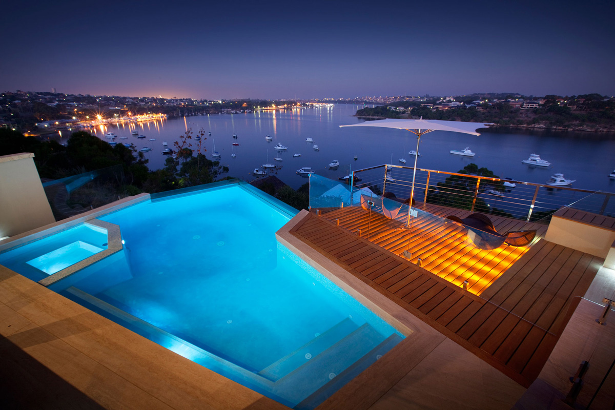 Evening Pool Lighting, Water Views, Stunning Riverside Home in Perth, Australia
