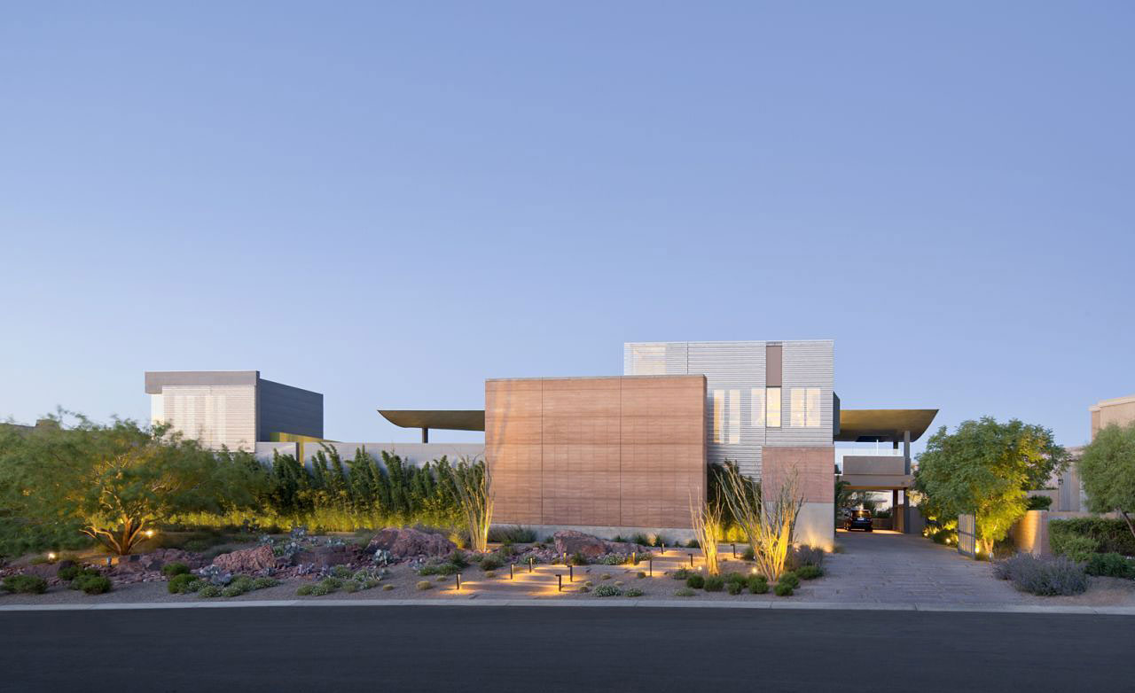 Evening, Street View, Entrance, Massive Modern Home in Las Vegas