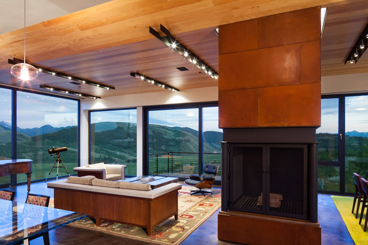 Contemporary Fireplace, Lighting, Living Room, Amazing Mountain Views, Hillside House in Jackson, Wyoming