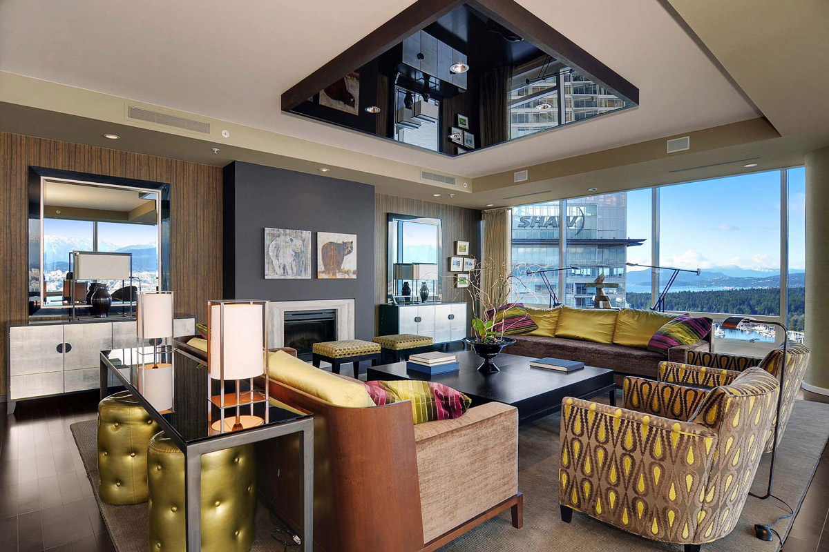 Fireplace, Living Space, Beautiful Apartment with Amazing Views in Vancouver, Canada