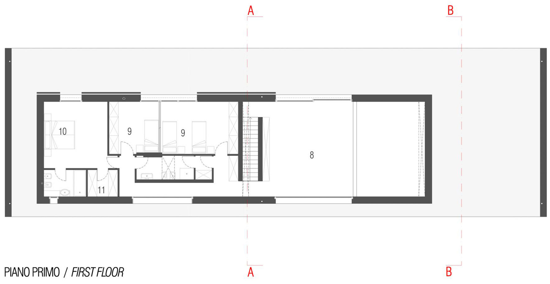 First Floor Plan, Modern Eco-Friendly Home in Castelnovo di Sotto, Italy