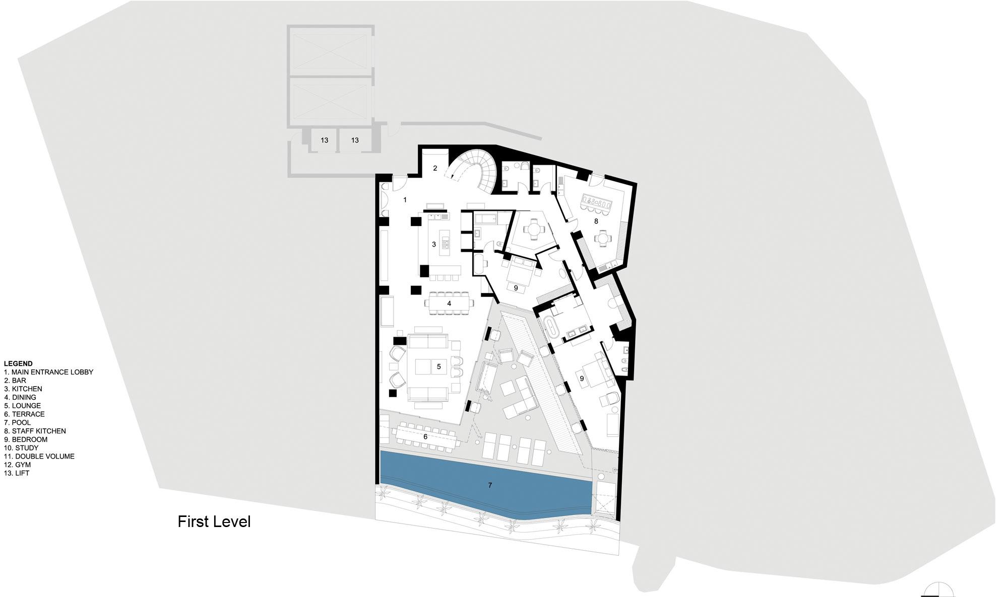 First Floor Plan, Seaside Home in Clifton Beach, Cape Town