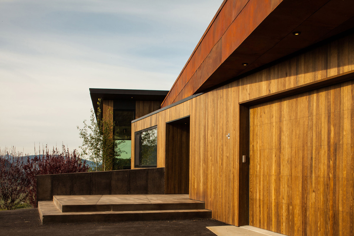 Garage, Wooden Door, Hillside House in Jackson, Wyoming