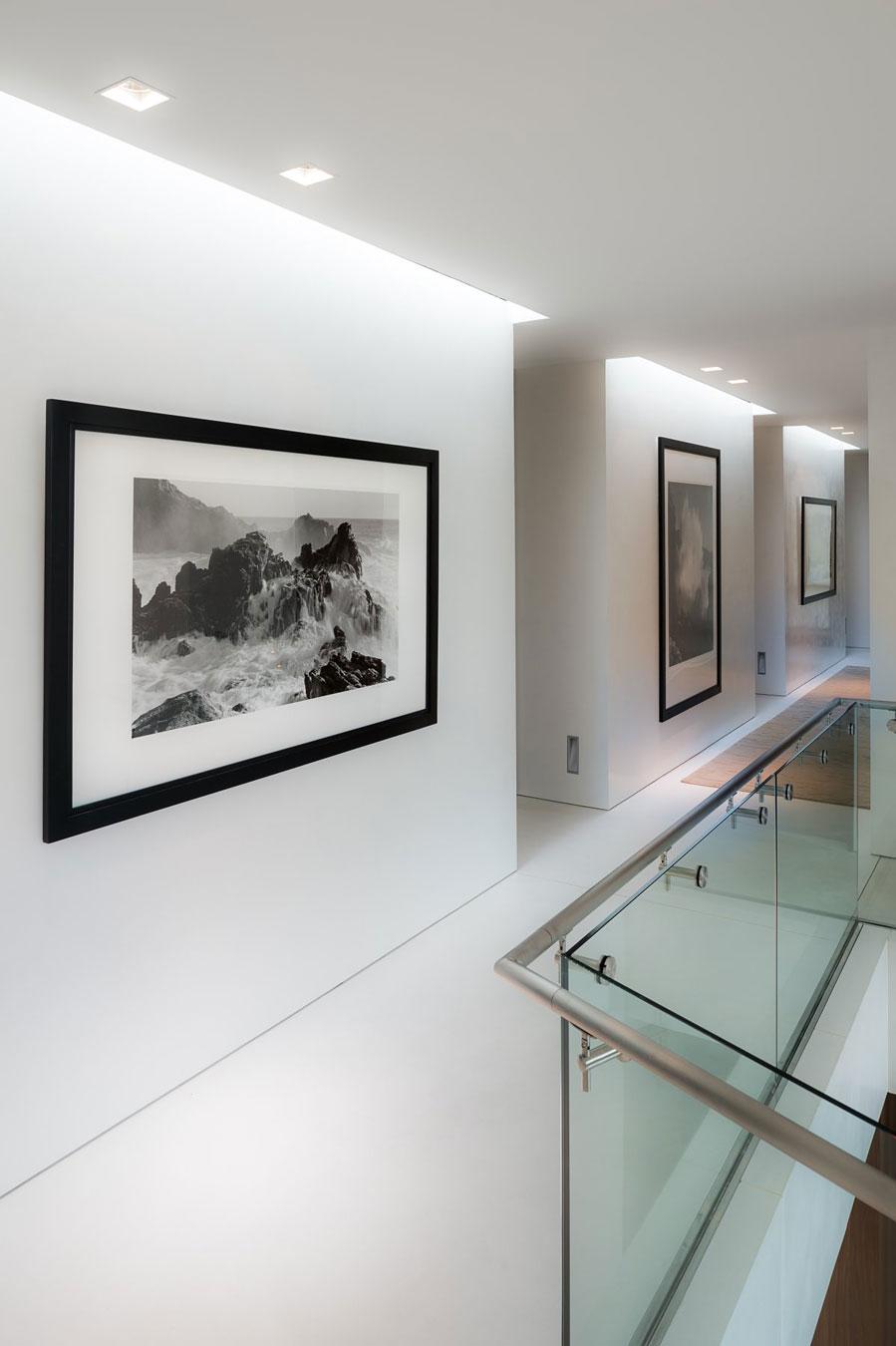 Glass Balustrading, Hallway, Oceanfront Home in Sagaponack, New York