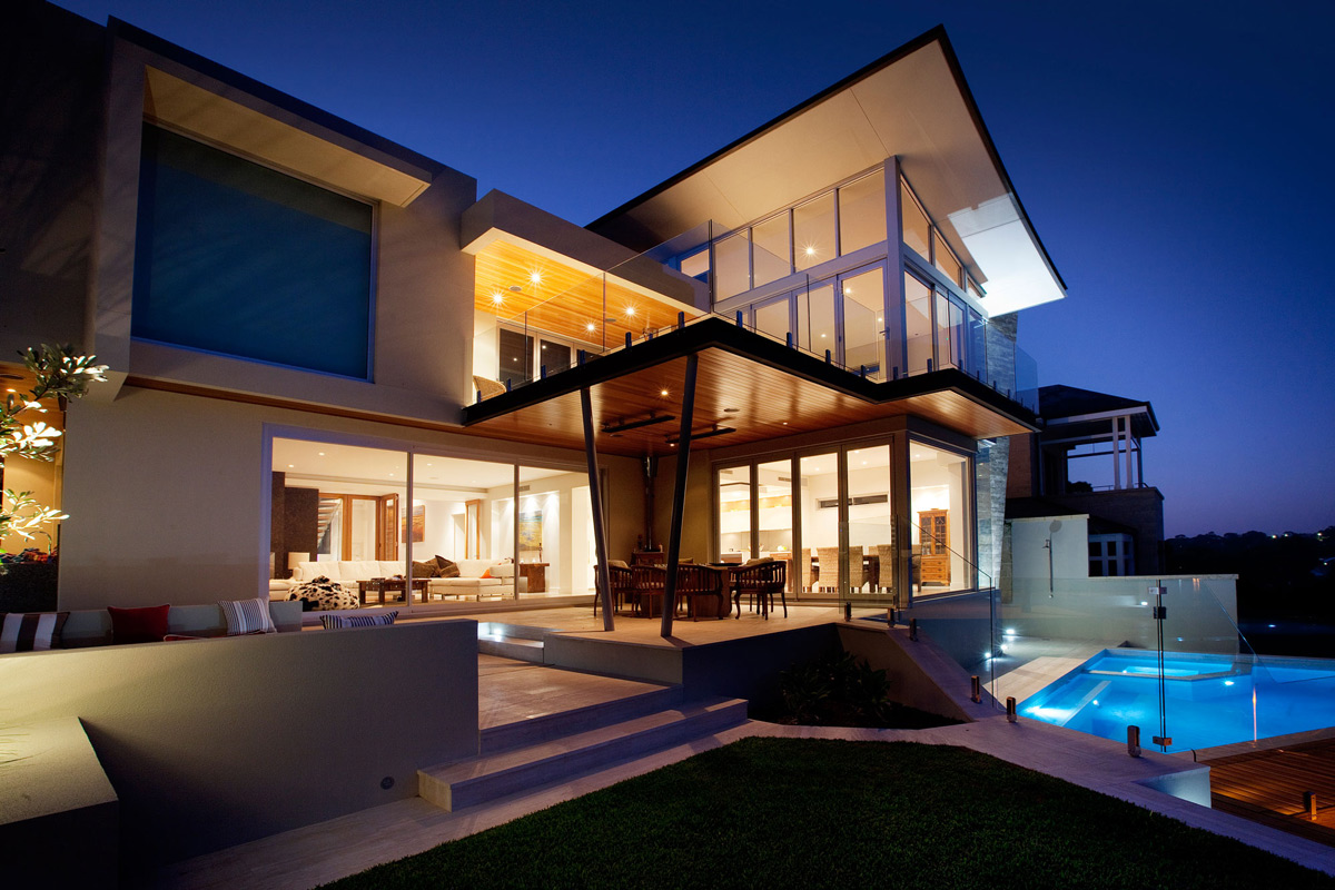 Glass Balustrading, Terrace, Pool, Evening Lighting, Stunning Riverside Home in Perth, Australia