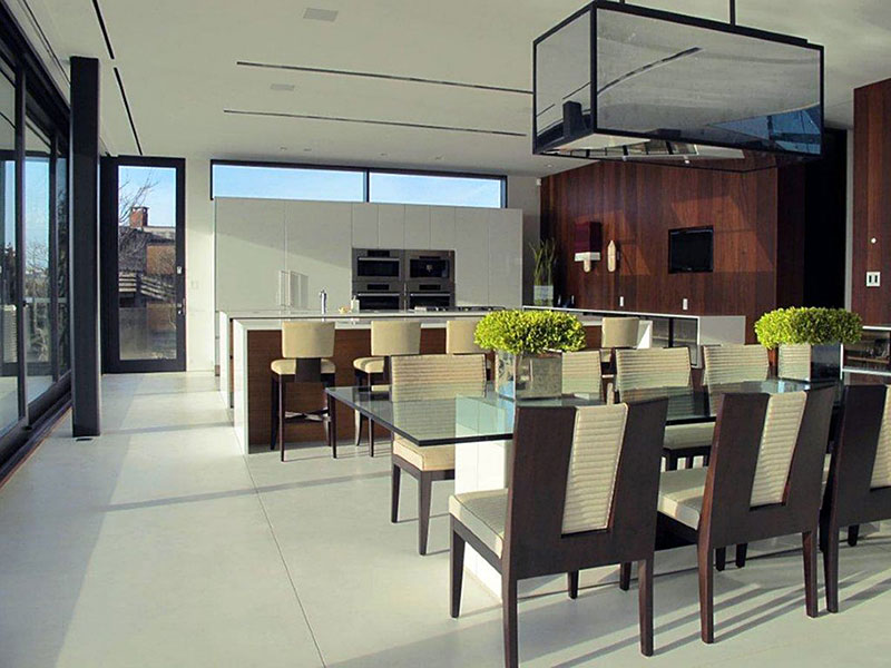 Glass Dining Table, Oceanfront Home in Sagaponack, New York