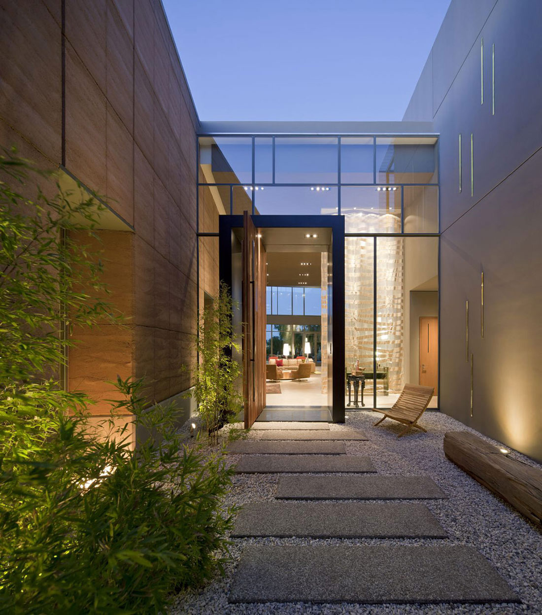 Modern Homes Front And Back: Glass Entrance, Front Door, Massive Modern Home In Las
