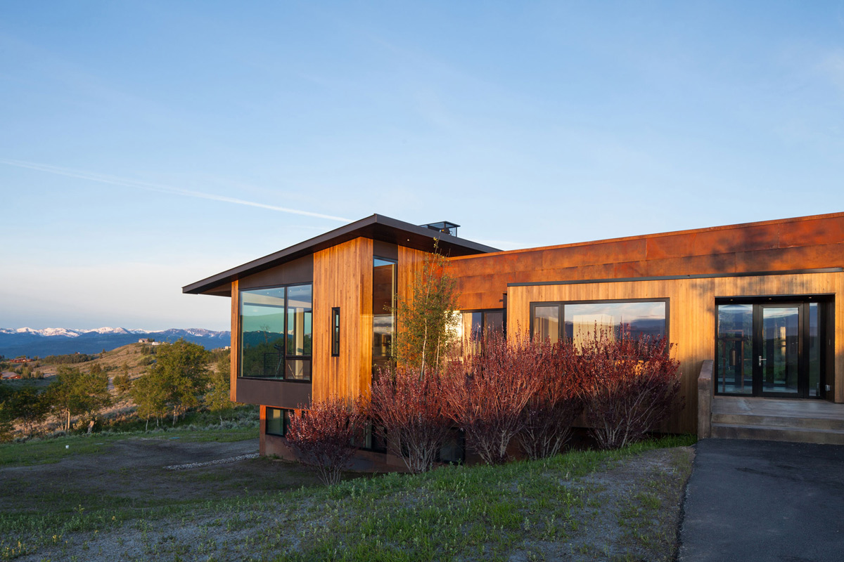 Glass Entrance, Mountain Views, Hillside House in Jackson, Wyoming