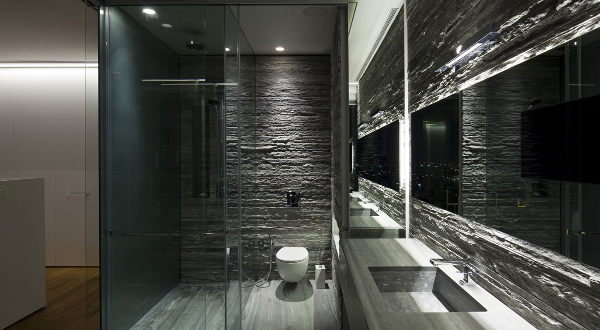 Glass Shower, Bathroom, Elegant Apartment with Reflective Ceiling in Tel Aviv, Israel