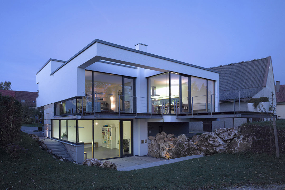 Modern Large Balconies Glass Walls Balcony Evening Lighting Contemporary Split Level Home