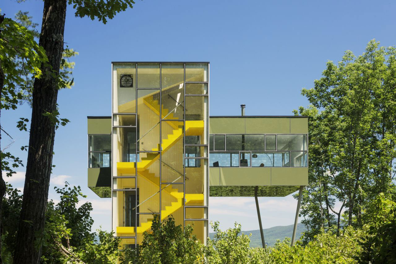 Glass Walls, Yellow Stairs, Unique Treetop Home in Upstate New York