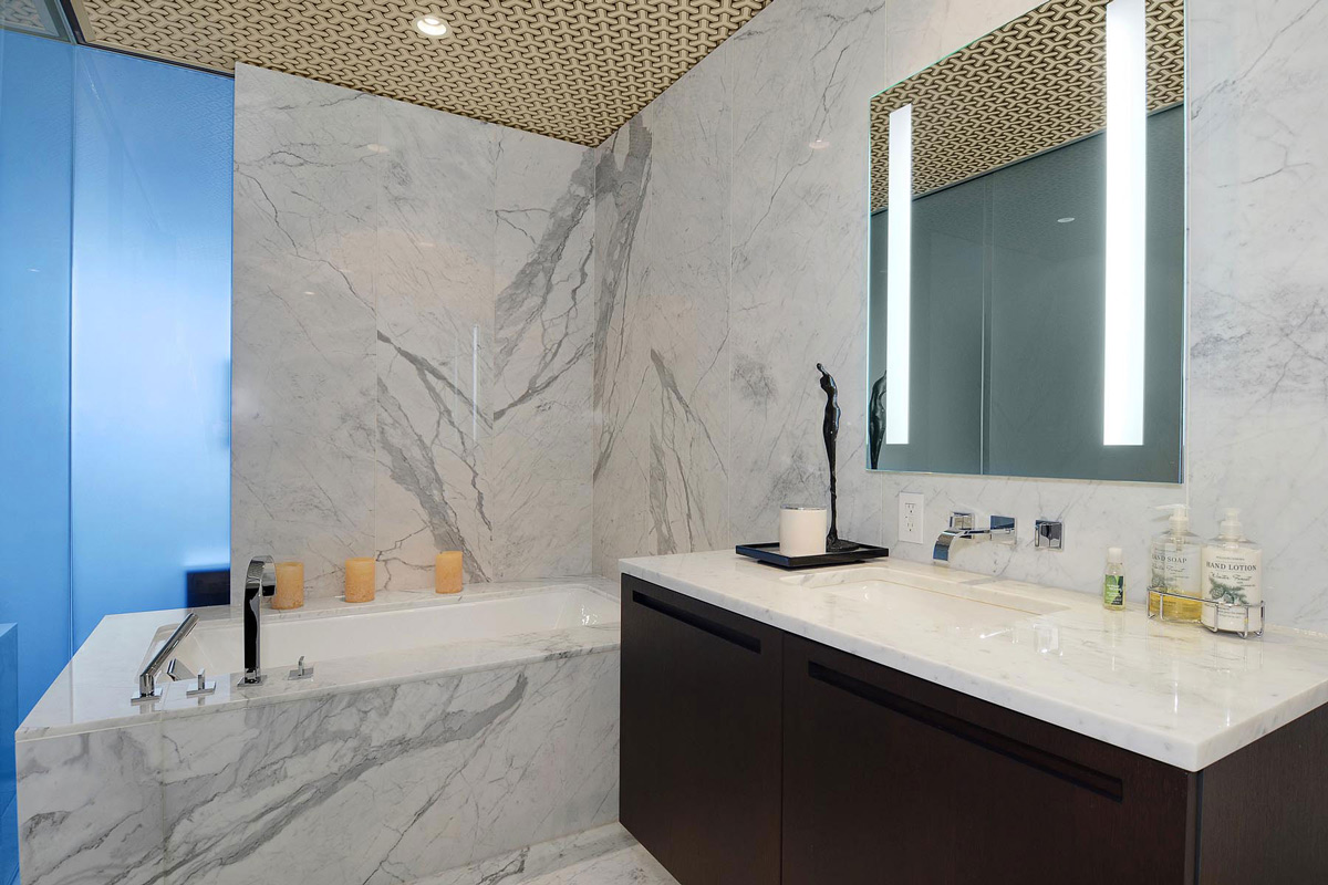 Grey Marble Tiles, Bath Tub, Beautiful Apartment with Amazing Views in Vancouver, Canada