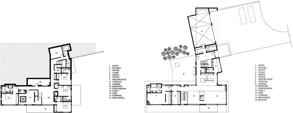 Ground & First Floor Plan, Hillside House in Jackson, Wyoming