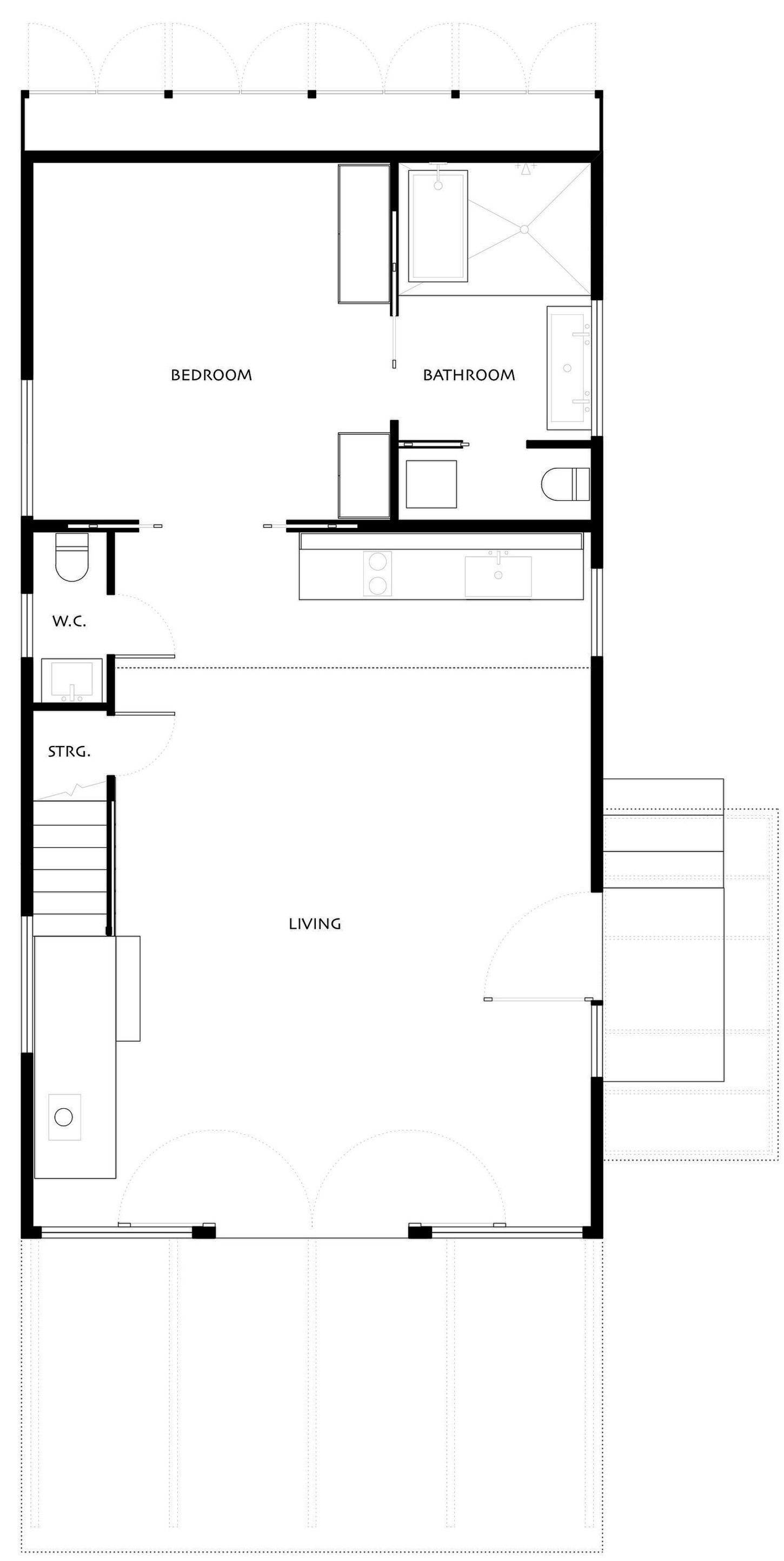 Ground Floor Plan, Simple Eco-Friendly Home Perched Above Lake Buchanan, Texas