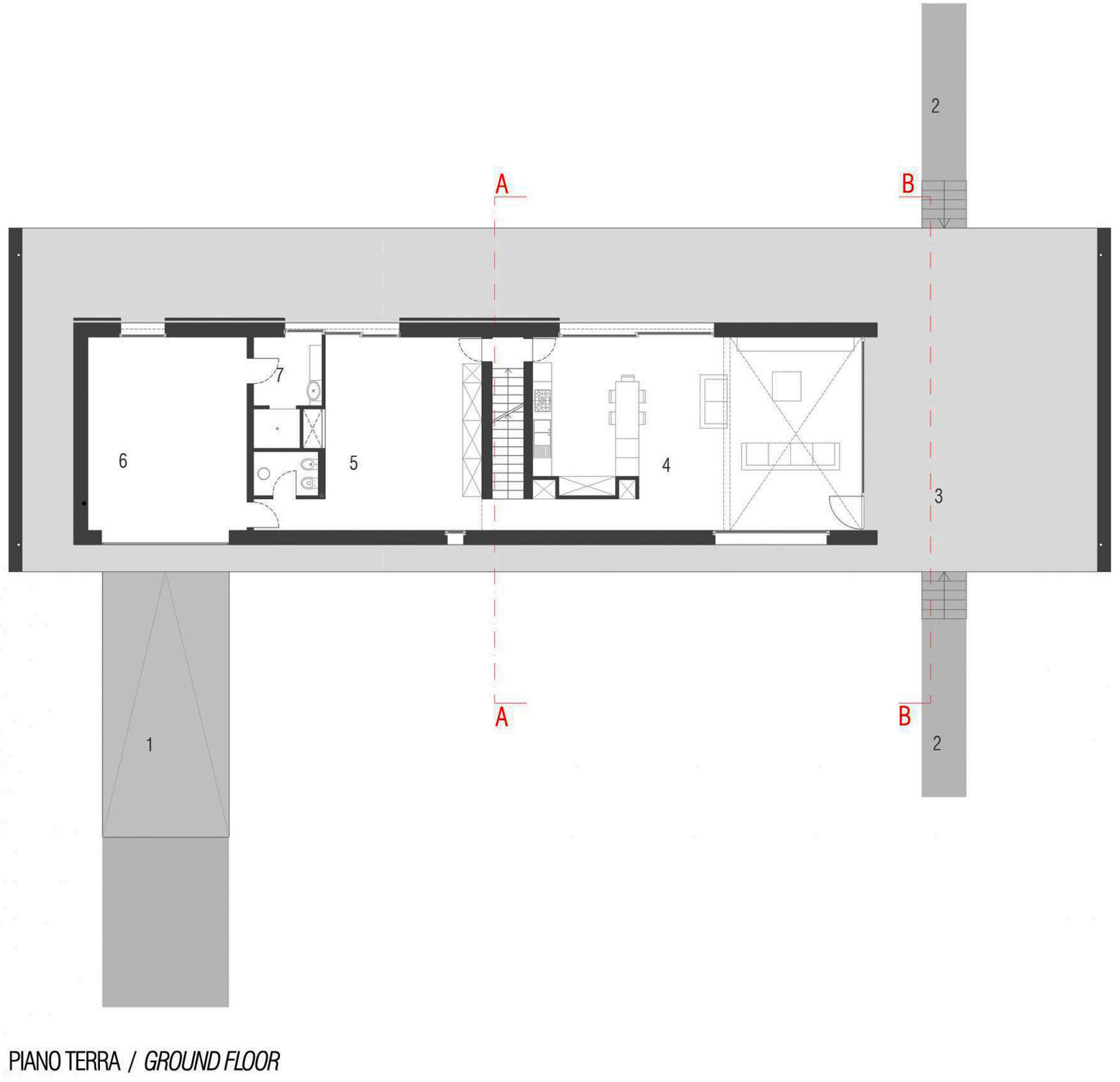 Ground Floor Plan, Modern Eco-Friendly Home in Castelnovo di Sotto, Italy