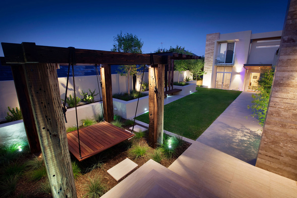 Hanging Sun Bed, Stunning Riverside Home in Perth, Australia