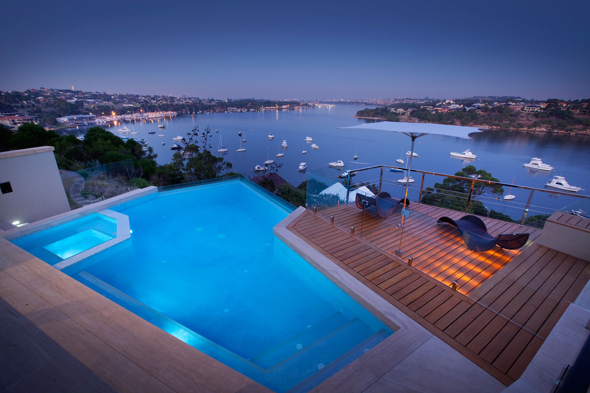 Infinity Pool, Deck, Water Views, Stunning Riverside Home in Perth, Australia