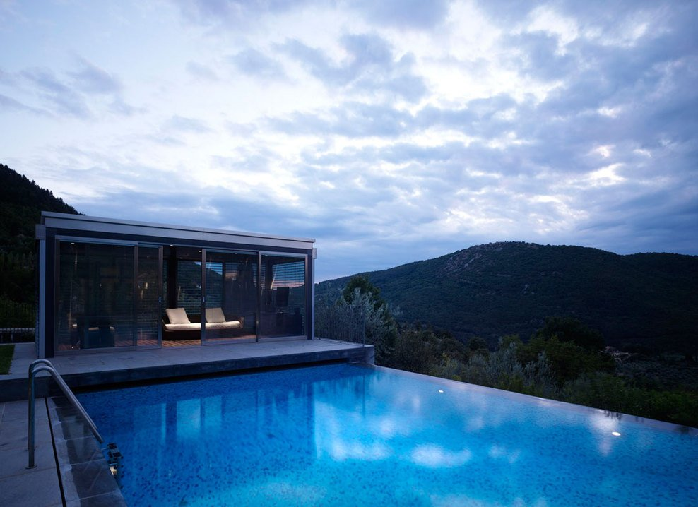 Infinity Pool, Lights, Evening, Modern Home in Prato, Italy
