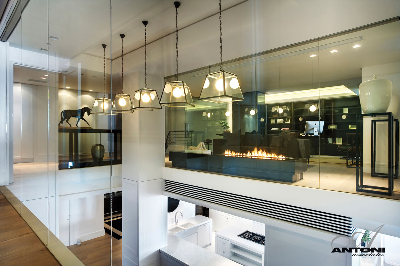 Internal Glass Walls, Lighting, Seaside Home in Clifton Beach, Cape Town