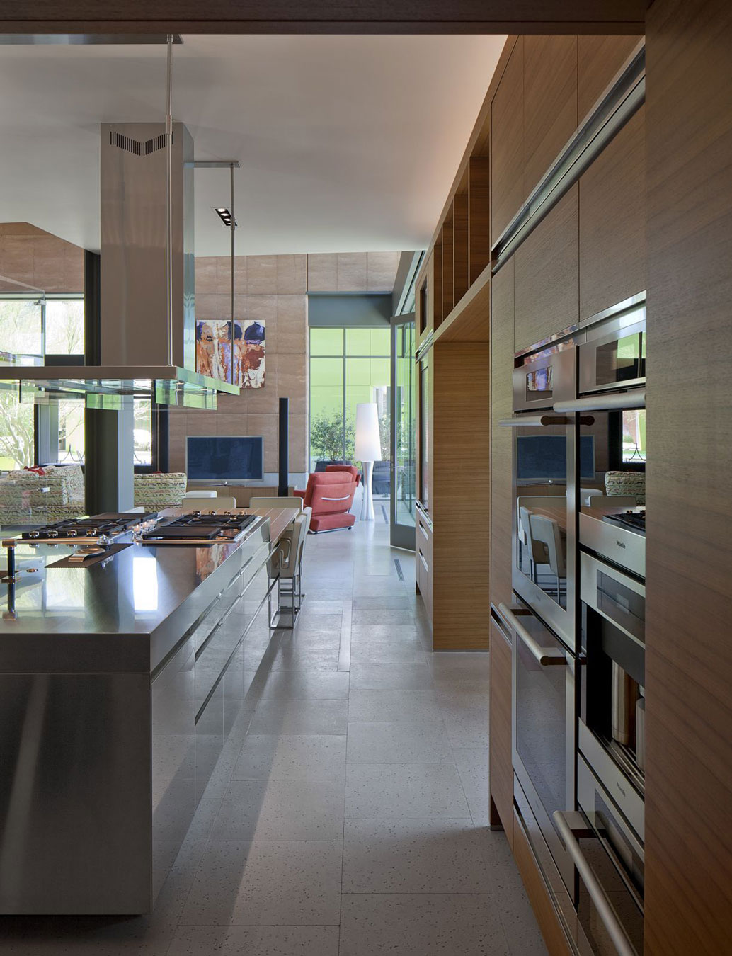 Kitchen, Metal Island, Massive Modern Home in Las Vegas