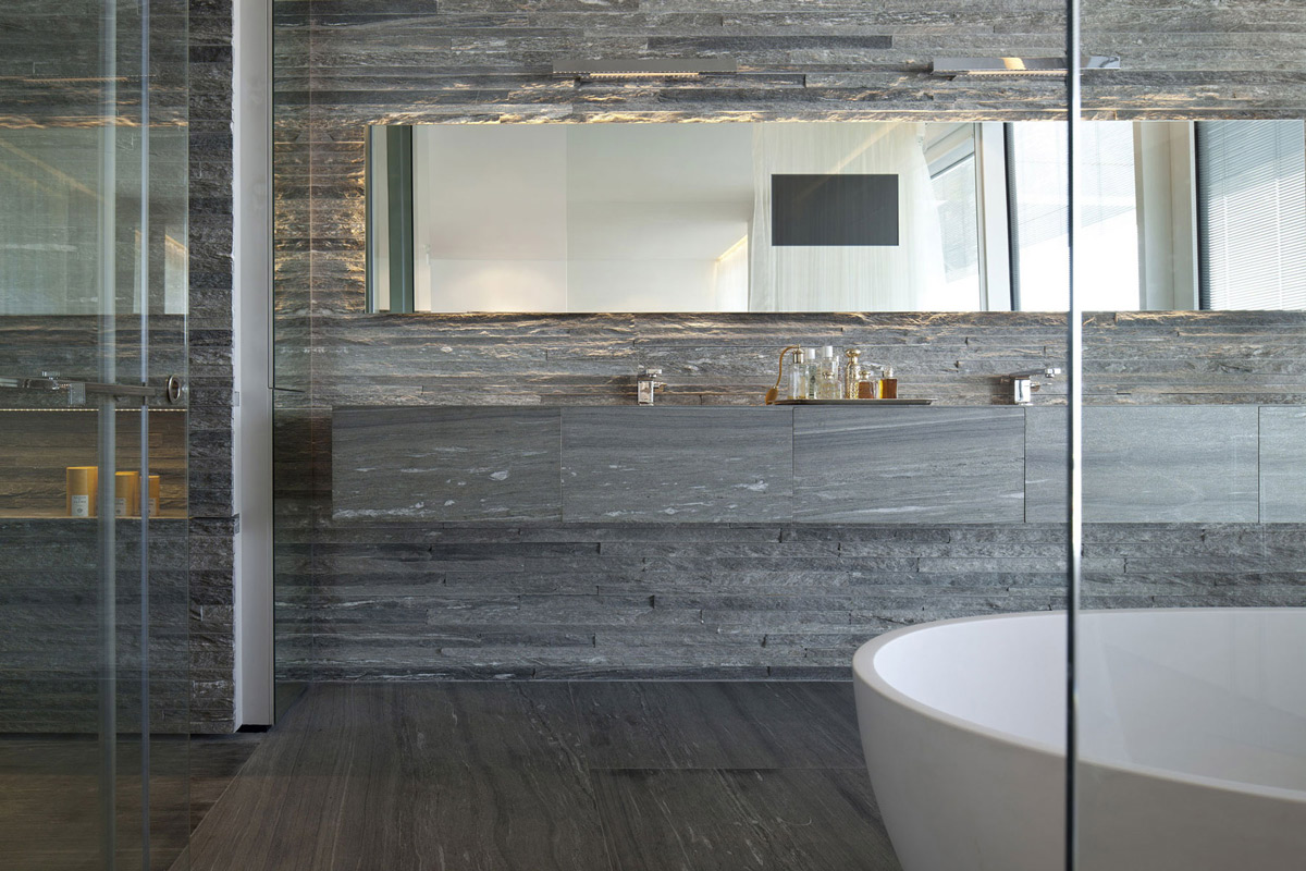 large mirror stone tiles bathroom elegant apartment with reflective ceiling in tel aviv israel