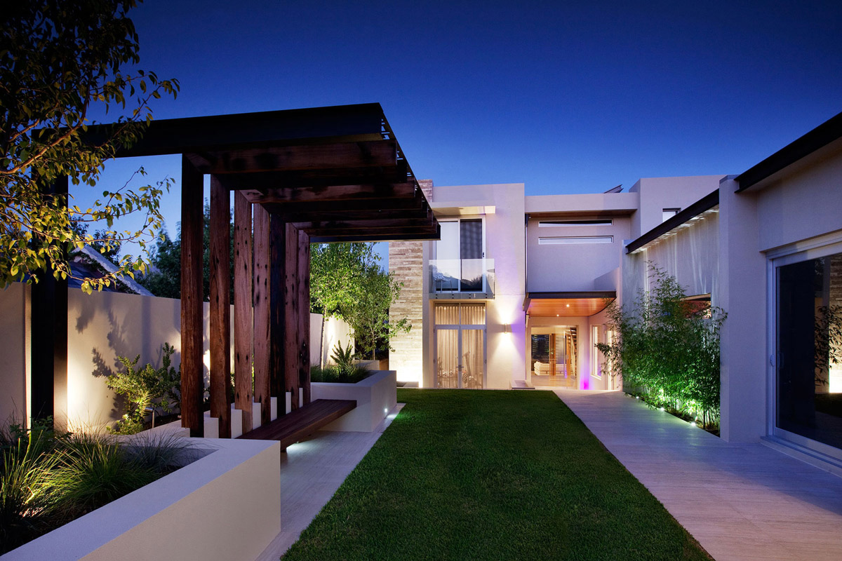 Lawn, Pergola, Lighting, Stunning Riverside Home in Perth, Australia