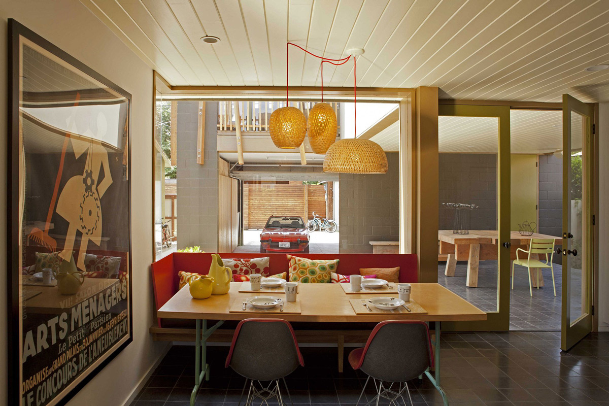 Lighting, Kitchen Table, Glass Wall, Wonderful Renovation and Addition in Venice, California