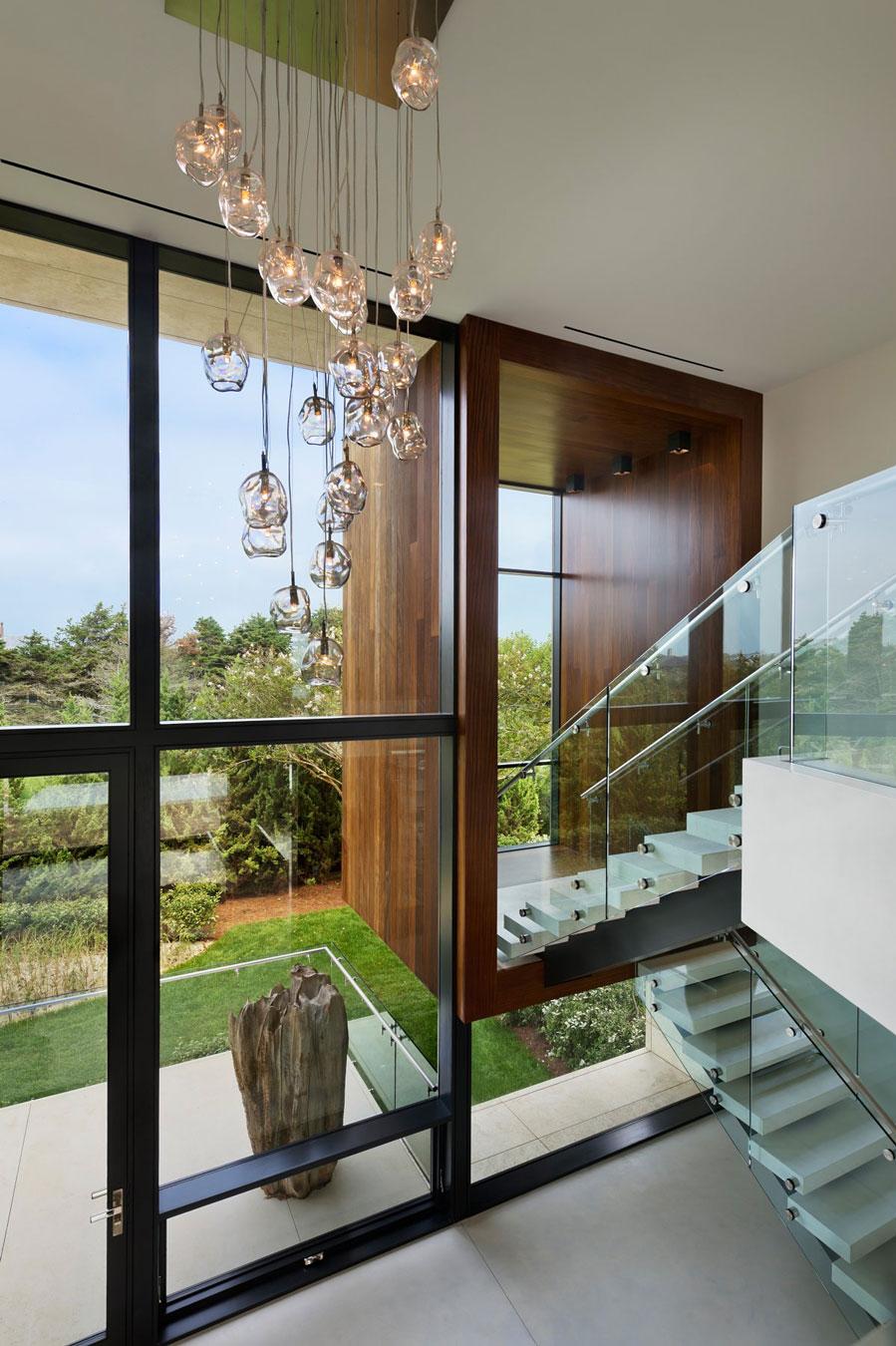 Lighting, Stairs, Oceanfront Home in Sagaponack, New York