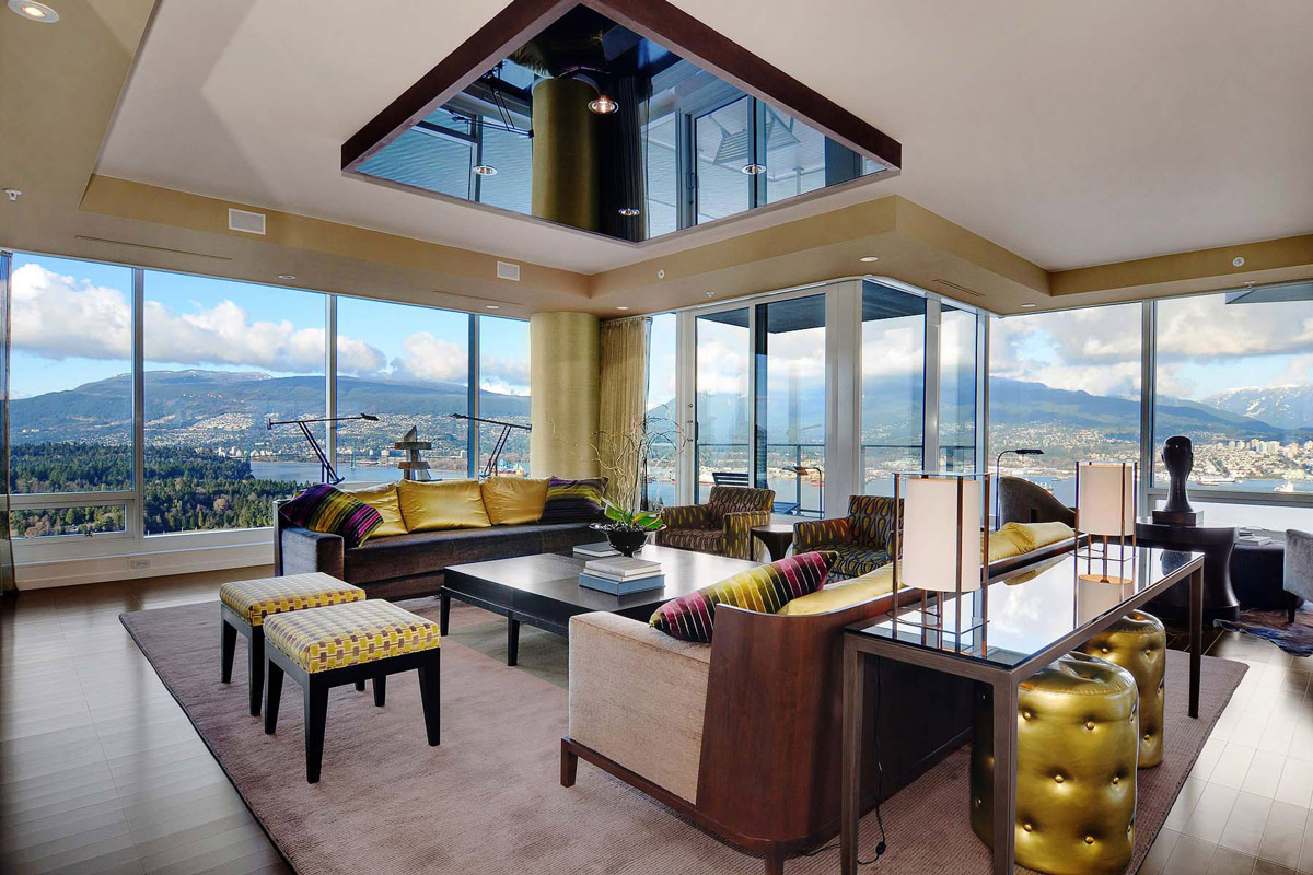 Living Room, Glass Walls, Beautiful Apartment with Amazing Views in Vancouver, Canada