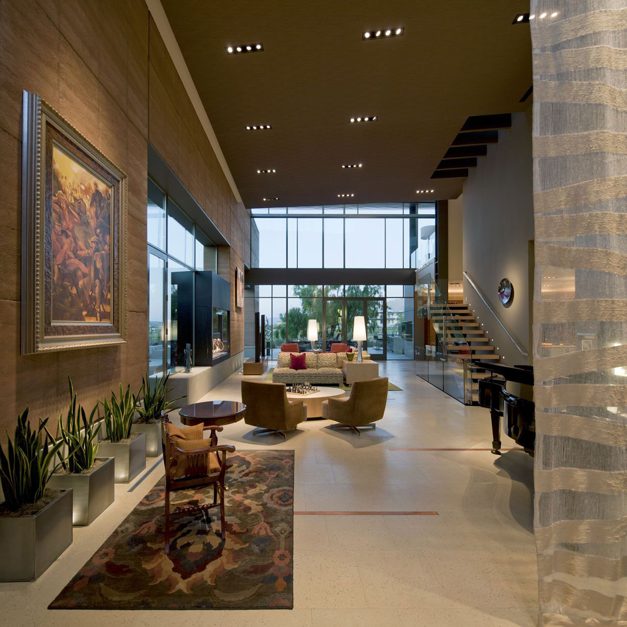 Living Room, Art, Rug, Art, High Ceiling, Massive Modern Home in Las Vegas