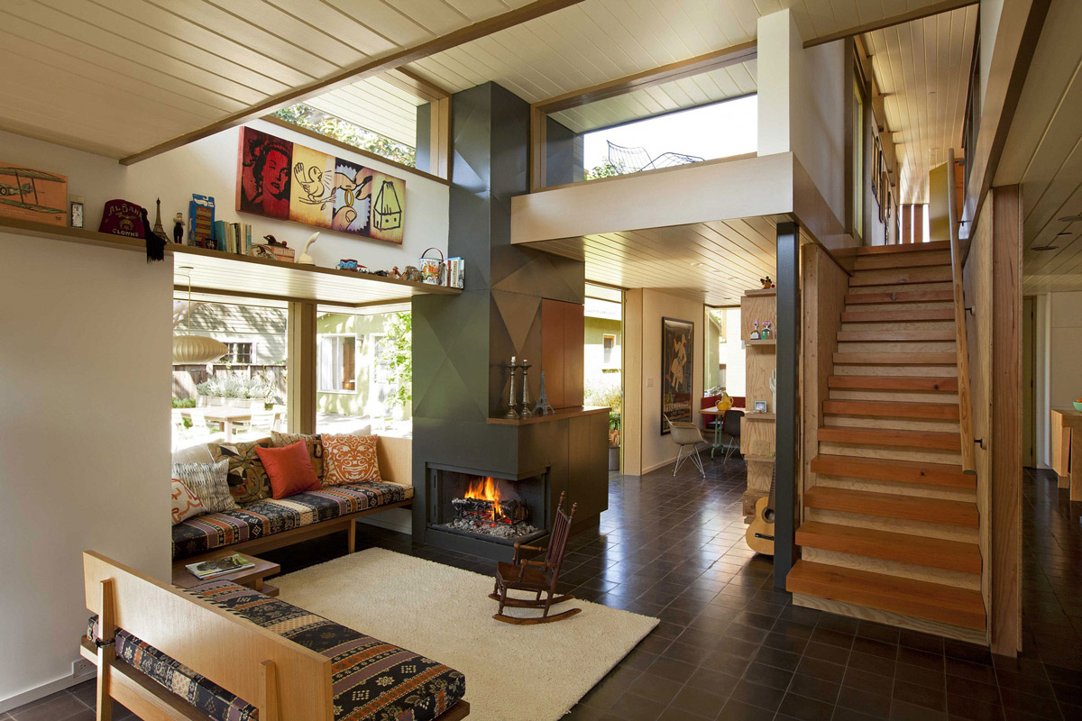 Modern Fireplace, Living Space, Staircase, Wonderful Renovation and Addition in Venice, California