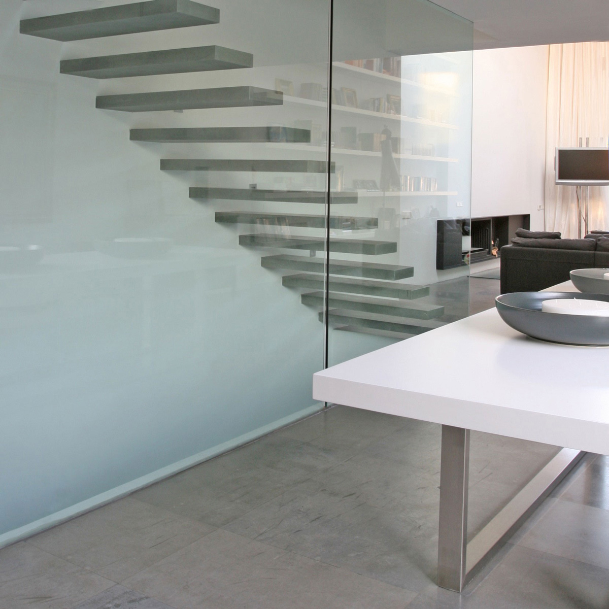 Modern Stairs, Glass Walls, Contemporary Home in Valencia, Spain