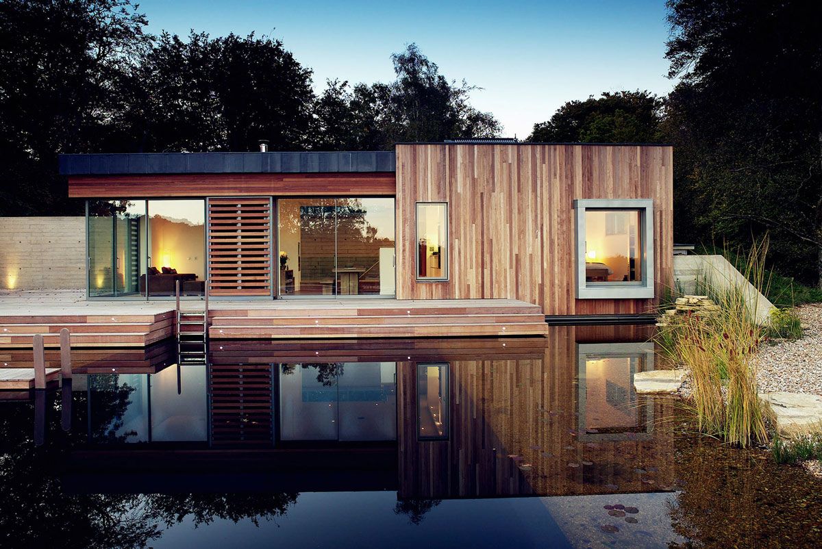 Natural Swimming Pond, Lighting, Contemporary Home in the New Forest National Park, England