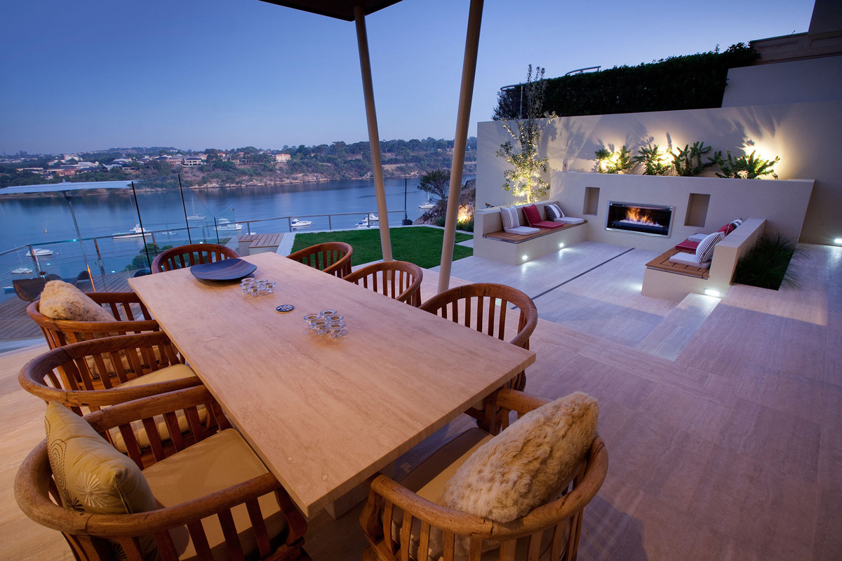 Outdoor Dining Table, Fireplace, Stunning Riverside Home in Perth, Australia