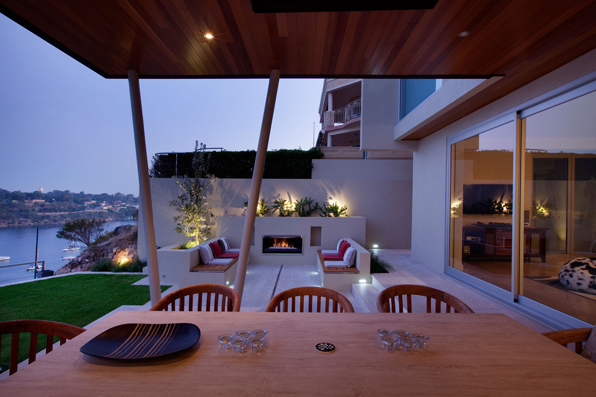 Outdoor Fireplace, Living Space, Stunning Riverside Home in Perth, Australia