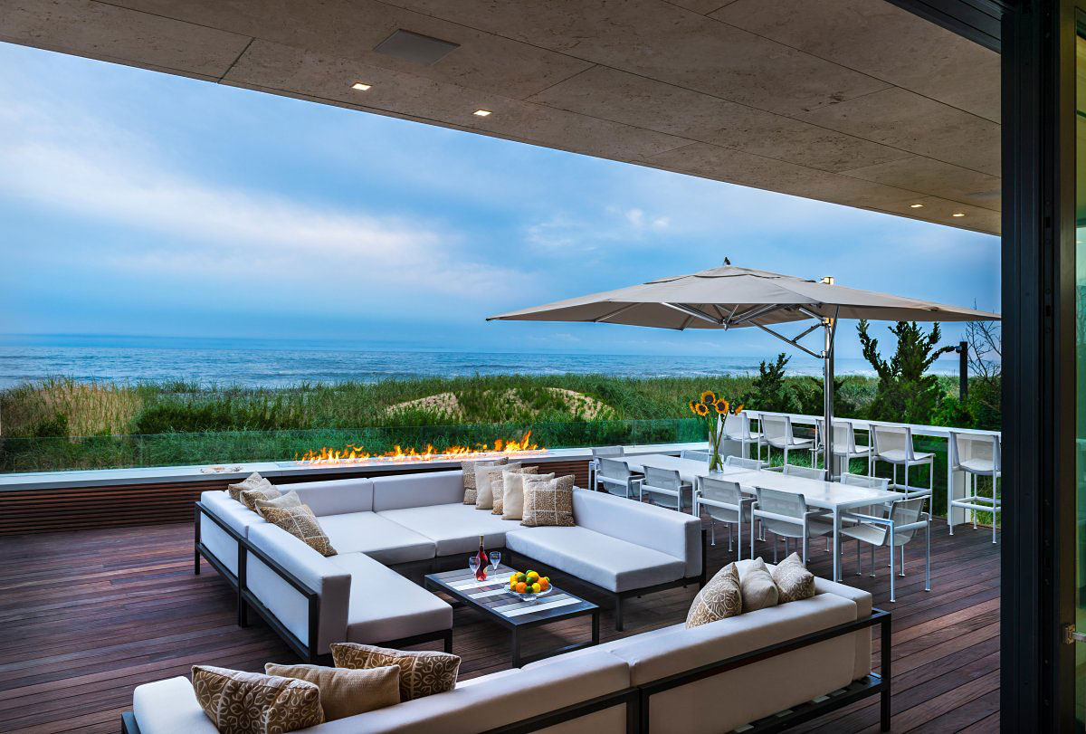 Outdoor Fireplace, Living Space, Oceanfront Home in Sagaponack, New York