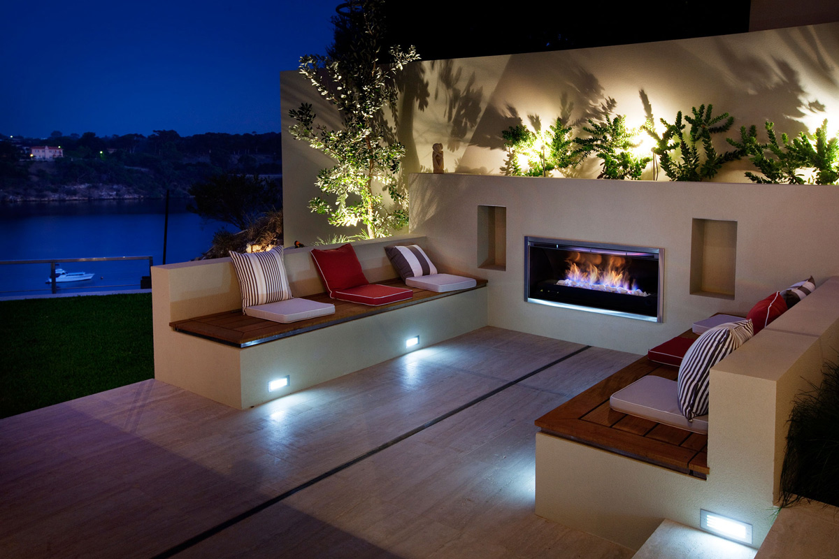 Outdoor Seating, Fireplace, Stunning Riverside Home in Perth, Australia