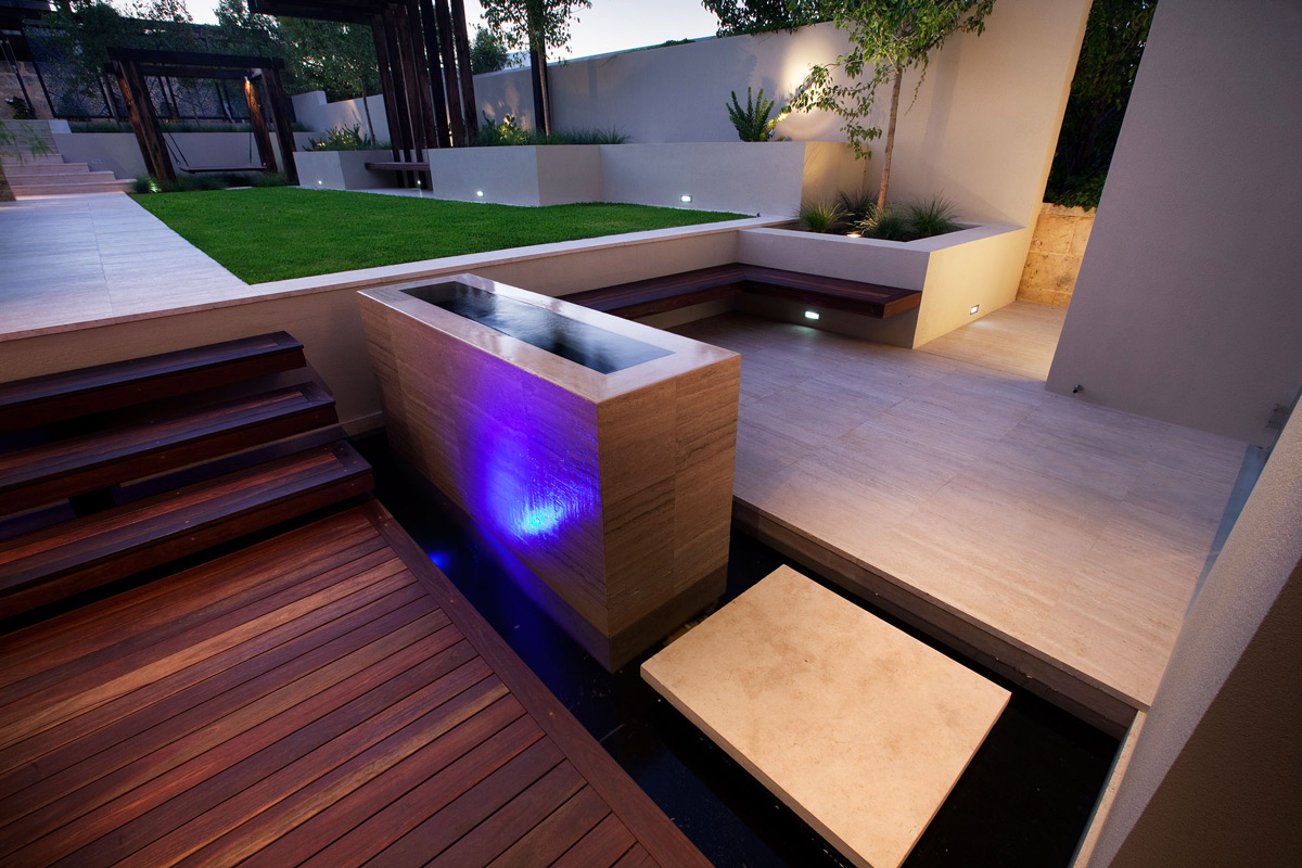 Outdoor Water Feature, Lighting, Stunning Riverside Home in Perth, Australia