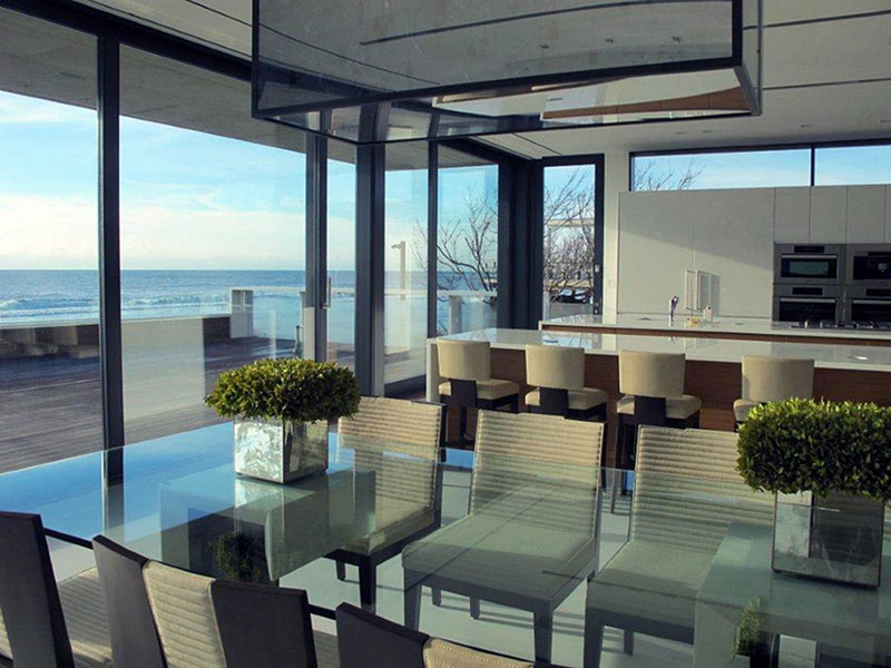 Patio Doors, Dining Table, Oceanfront Home in Sagaponack, New York
