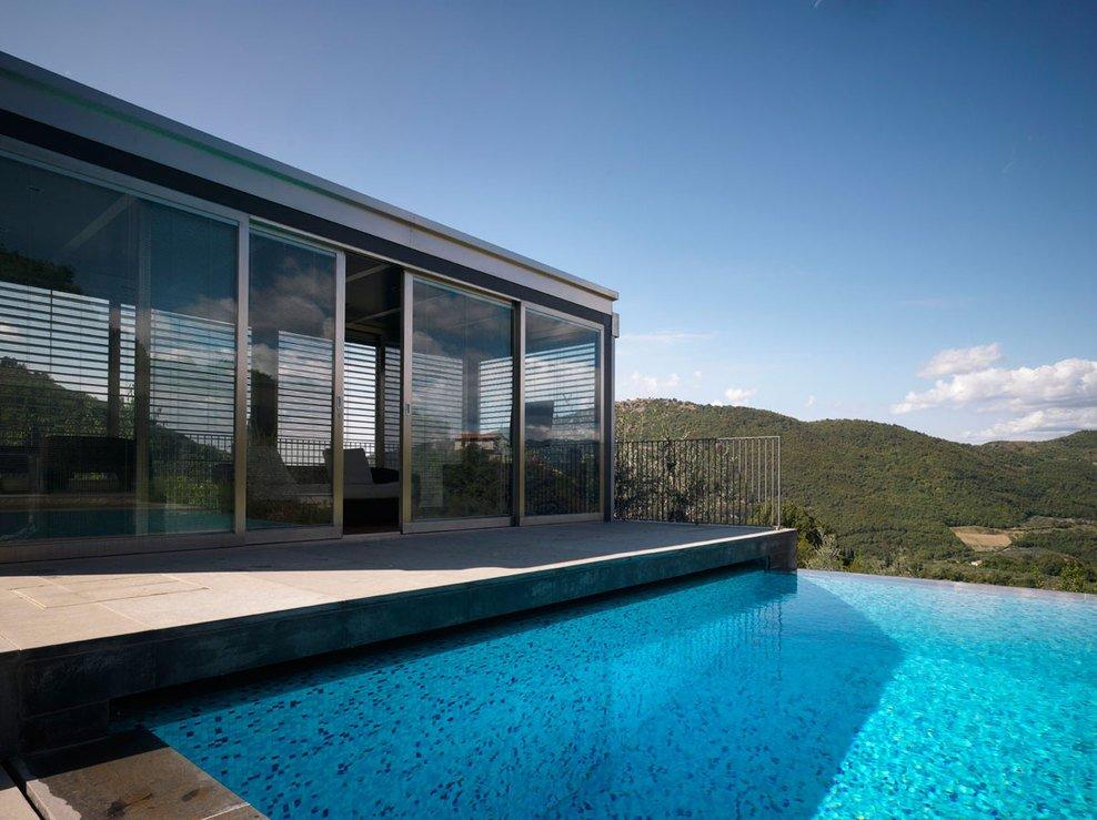 Patio Doors, Pool Views, Modern Home in Prato, Italy