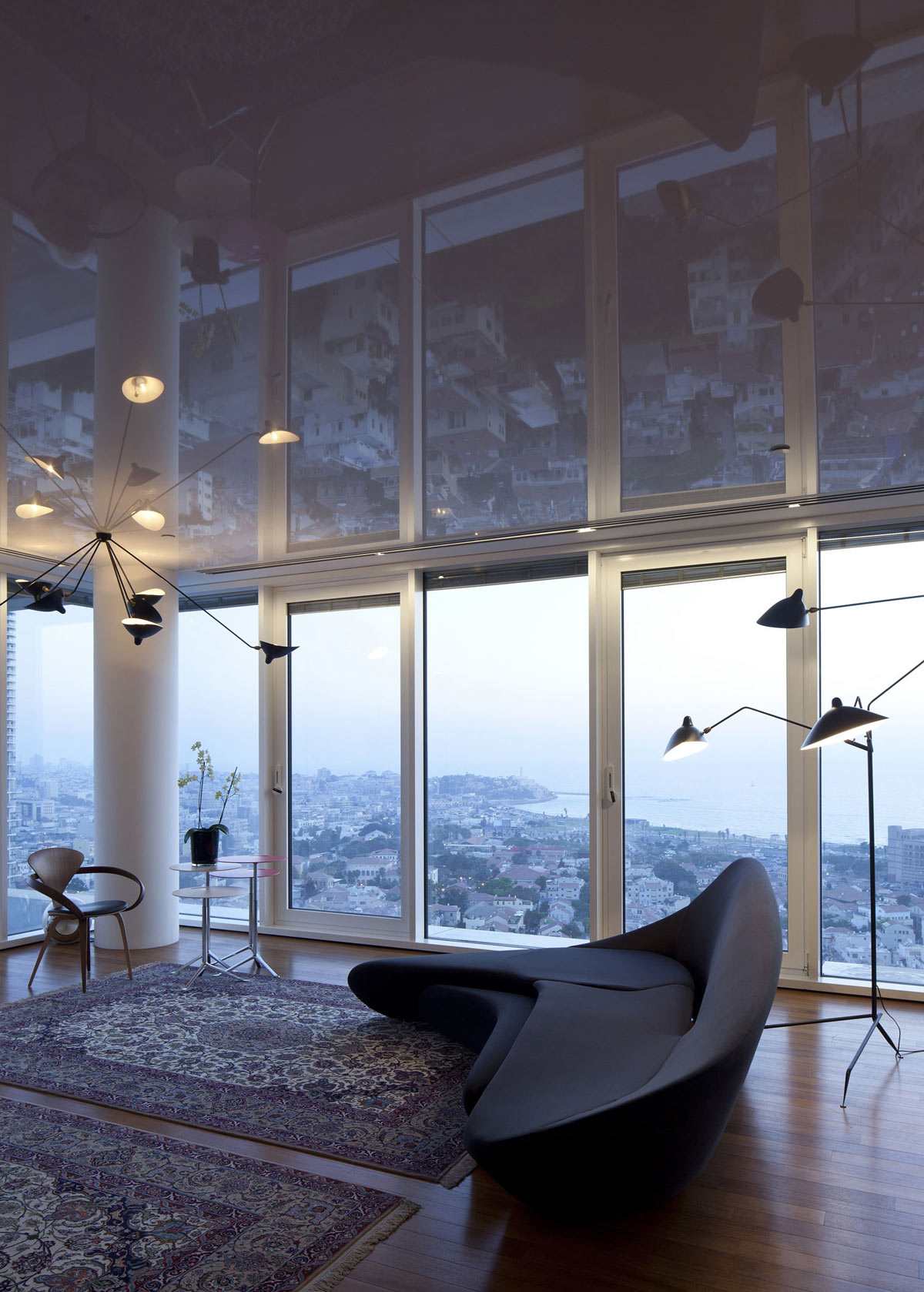 Patio Doors, Sofa, Rugs, Elegant Apartment with Reflective Ceiling in Tel Aviv, Israel