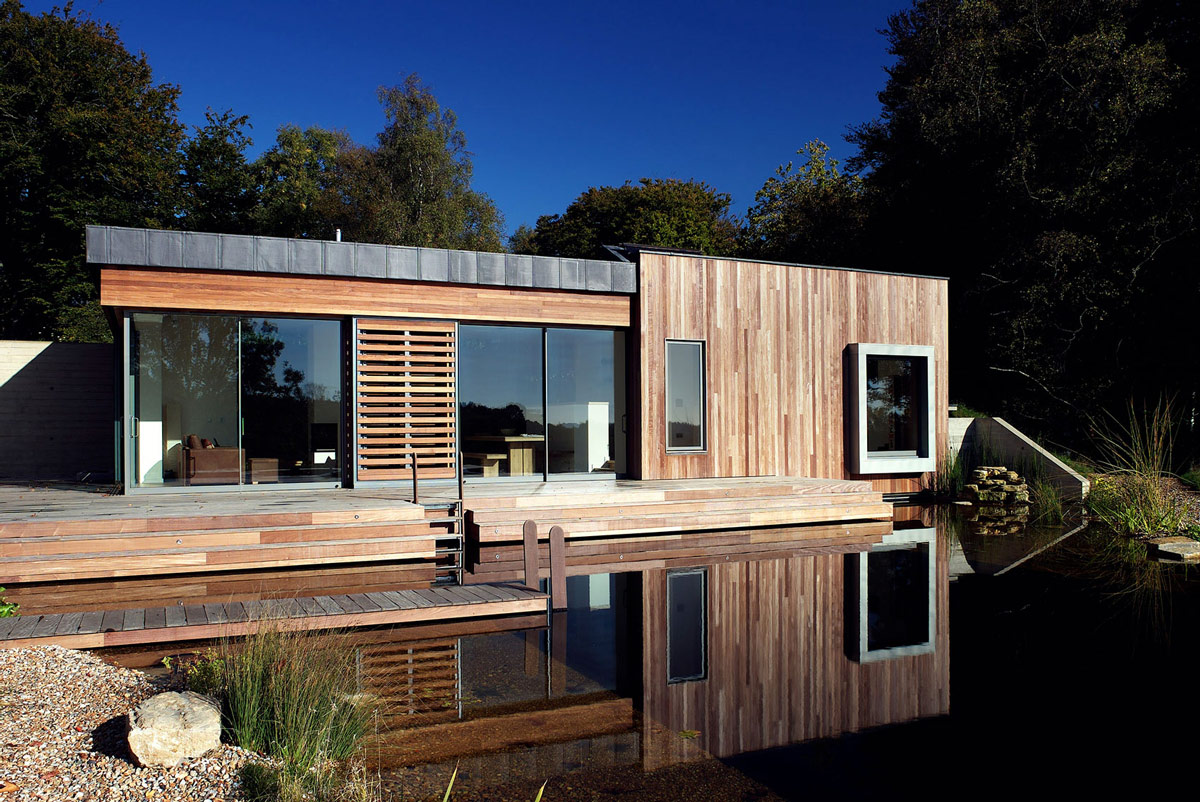 Patio Doors, Wooden Deck, Swimming Pond, Contemporary Home in the New Forest National Park, England