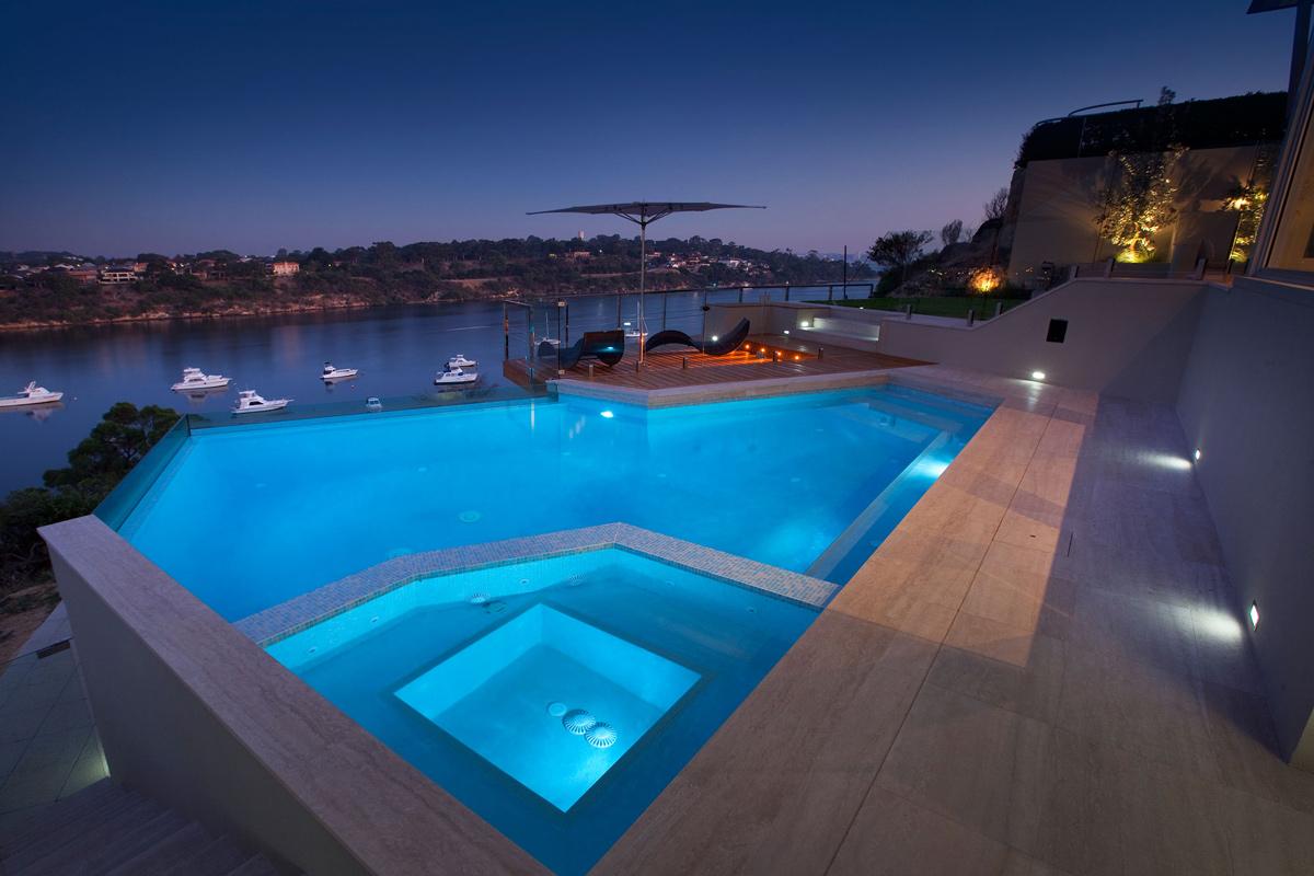 Pool, Jacuzzi, Lighting, Stunning Riverside Home in Perth, Australia